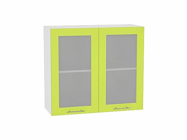 Шкаф верхний Валерия В809 со стеклом (лайм глянец)
