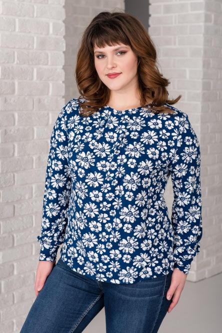 Блуза женская арт.0143-42 ромашки, масло с начесом