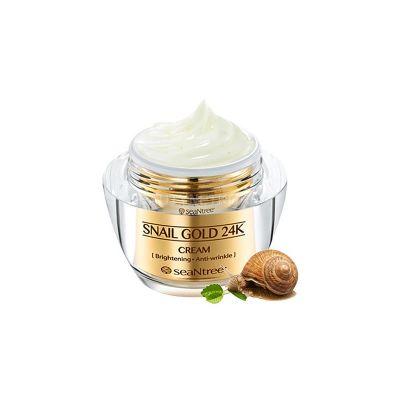 Крем для лица с 24к золотом и экстрактом улитки SEANTREE Snail Gold 24K Cream 50g