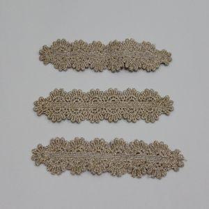 """`Декоративный элемент """"Кружево"""" с люрексом, размер 10,5*3см, цвет: бежевый"""