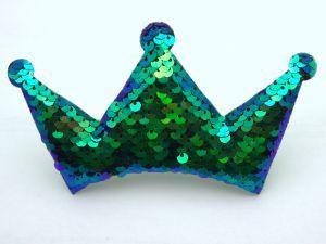 """Патч """"Корона с пайетками"""", 140*85 мм, цвет  зеленый (1уп = 5шт)"""