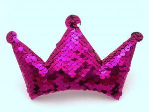 """Патч """"Корона с пайетками"""", 140*85 мм, цвет  ярко-розовый (1уп = 5шт)"""