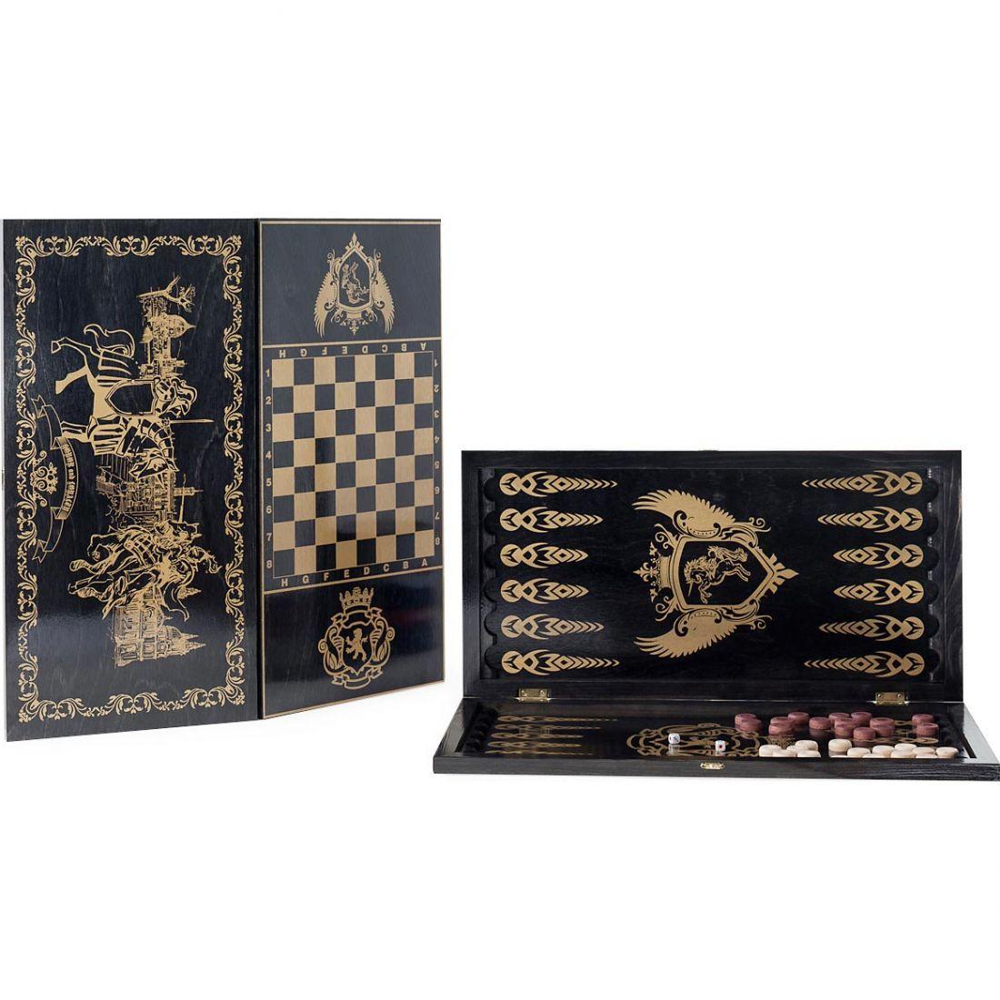 Набор 2 в 1 деревянный Рыцари 124-16 (шашки, нарды) черный 60х60см