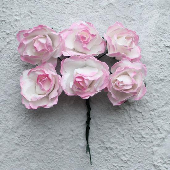 Бумажные цветы розовые - Кукольная миниатюра