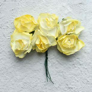 Бумажные цветы желтые- Кукольная миниатюра
