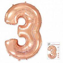 """Фигура """"3""""  (40""""/102 см) розовое золото, в упаковке"""