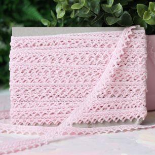 Тесьма кружевная вязаная, розовая
