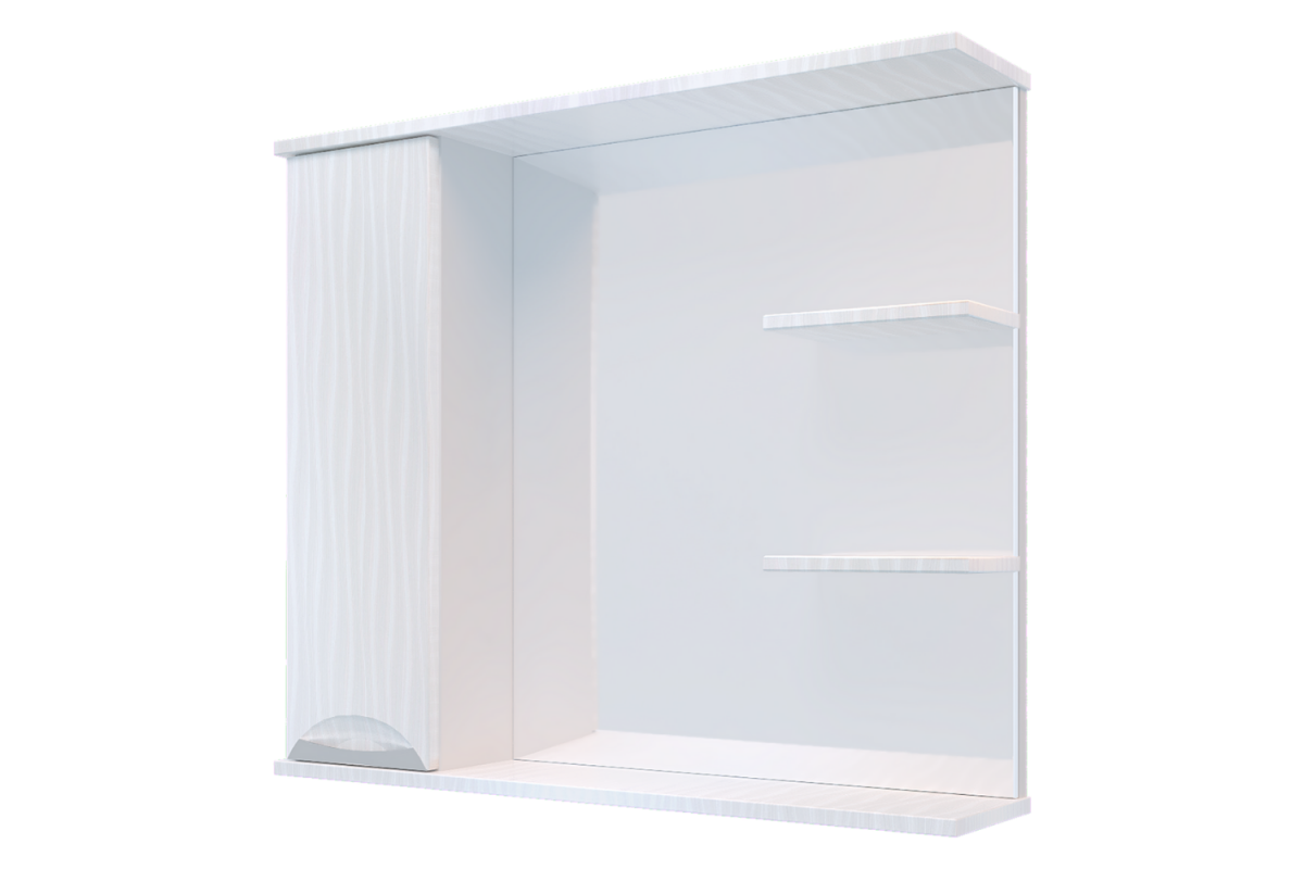 "Навесной шкаф ""Верона""  1 Дверь + Зеркало + 2 Полки 750 мм Белый бархат"