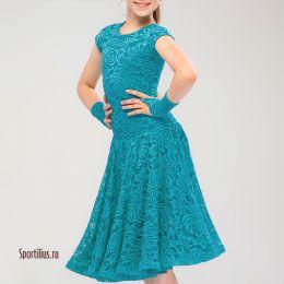 Платье рейтинговое для танцев с набивным гипюром