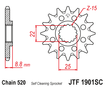 JTF 1901SC, звезда передняя самоочищающаяся