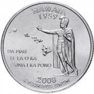 ХАЛЯВА!!! 25 центов США 2008г - Штат Гавайи, VF- Серия Штаты и территории