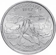 ХАЛЯВА!!! 25 центов США 2002г - Миссисипи, VF- Серия Штаты и территории
