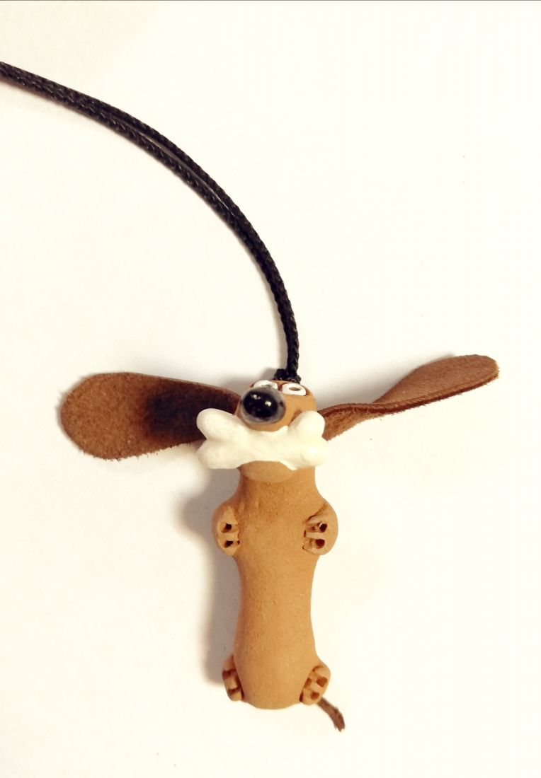 Фигурка такса с косточкой Керамика