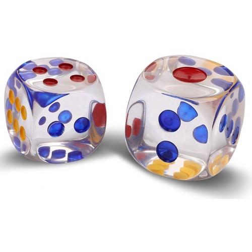 Кости (кубики, зары) пластиковые 16442 прозрачные 3,3см