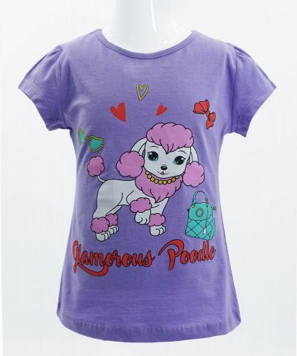 "Футболка для девочек 4-8 лет Bonito kids ""Glamorous Poodle"" сиреневая"