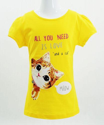 """Футболка для девочек Bonito kids """"Cat"""" 4-8 лет желтая"""