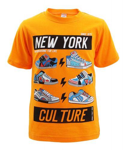 "Футболка для мальчика Bonito kids ""New York"" 4-8 лет оранжевая"