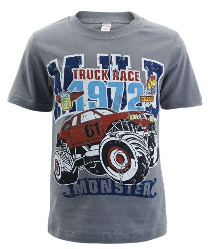 "Футболка для мальчика Bonito kids ""Truck race 1972"" 4-8 лет темно-серая"