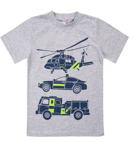 "Футболка для мальчика Bonito kids ""helicopter"" 4-8 лет серая"