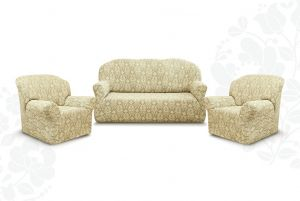 """Комплект чехлов """"Престиж"""" из 3х предметов (трехместный диван и 2 кресла)без оборки,10027 ваниль"""