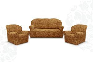 """Комплект чехлов """"Престиж"""" из 3х предметов (трехместный диван и 2 кресла)без оборки,10049 кофе с молоком"""