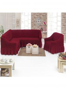 Чехол д/мягкой мебели Угловой 2-х пр.(3+1) кресла 1шт с оборкой (1шт.)  ,бордовый