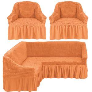 Чехол д/мягкой мебели Угловой 3-х пр.(3+1) кресла 2 шт с оборкой (1шт.)  ,коралловый