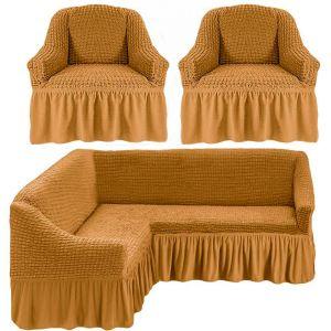 Чехол д/мягкой мебели Угловой 3-х пр.(3+1) кресла 2 шт с оборкой (1шт.)  ,медовый