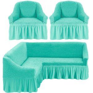 Чехол д/мягкой мебели Угловой 3-х пр.(3+1) кресла 2 шт с оборкой (1шт.)  ,ментол