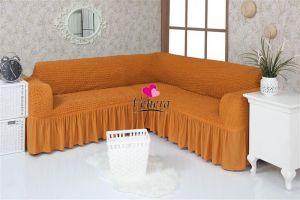 Чехол на диван угловой 2+3 универсальный ,рыжий