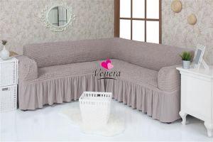 Чехол на диван угловой 2+3 универсальный с оборкой (1шт.)  ,Жемчужный