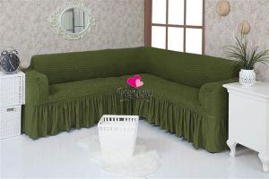 Чехол на диван угловой 2+3 универсальный с оборкой (1шт.)  ,Зеленый