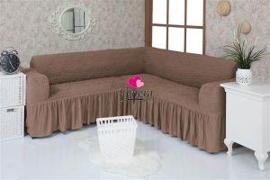 Чехол на диван угловой 2+3 универсальный с оборкой (1шт.)  ,какао