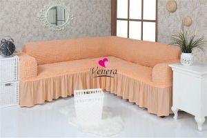 Чехол на диван угловой 2+3 универсальный с оборкой (1шт.)  ,коралловый