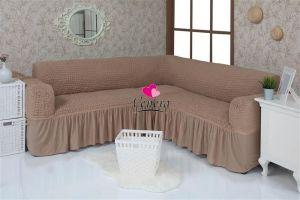 Чехол на диван угловой 2+3 универсальный с оборкой (1шт.)  ,Кофейный