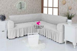 Чехол на диван угловой 2+3 универсальный с оборкой (1шт.)  ,Кремовый