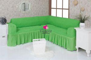 Чехол на диван угловой 2+3 универсальный с оборкой (1шт.)  ,салатовый