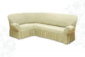 Чехол на диван угловой Престиж универсальный ,Ваниль v3