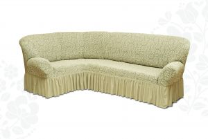 Чехол на диван угловой Престиж универсальный ,Ваниль v4