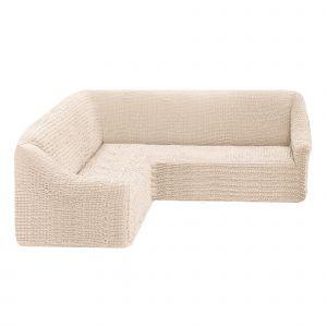Чехол на угловой диван без оборки универсальный ,кремовый