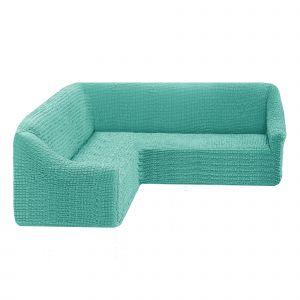 Чехол на угловой диван без оборки универсальный ,ментол