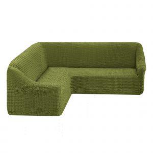Чехол на угловой диван без оборки универсальный ,Молодая зелень