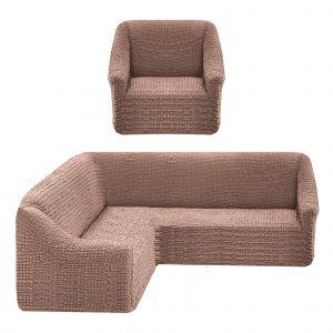 Чехол на угловой диван без оборки универсальный+1 кресло,какао