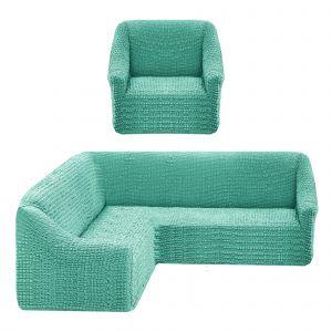 Чехол на угловой диван без оборки универсальный+1 кресло,ментол