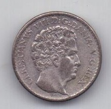3 скиллинга 1842 года AUNC Дания