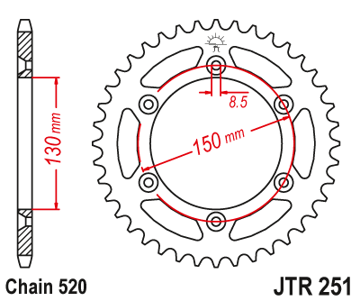 JTR 251, звезда задняя сталь
