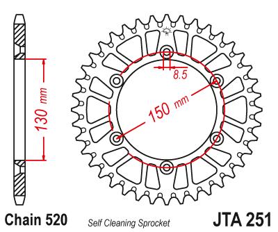 JTA 251, звезда задняя алюминий