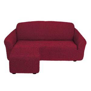 Чехол для углового дивана оттоманка без оборки  левый,бордовый