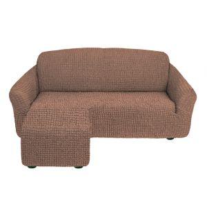 Чехол для углового дивана оттоманка без оборки  левый,кофе