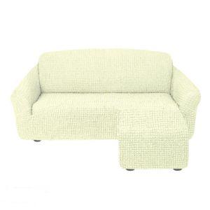 Чехол для углового дивана оттоманка без оборки  левый,кремовый
